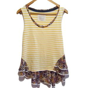 Anthropologie Postmark Yellow Striped Floral Top M